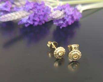 Citrine Stud Earrings, Gold disc earrings, Tiny stud earrings, Citrine Gemstone Studs, Citrine Jewelry, November Birthstone, Gift for her