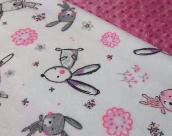 Minky Baby Blanket, Bunny Minky Blanket, Animal Blanket, Minky Blanket, Soft Blanket, Newborn Baby Blanket