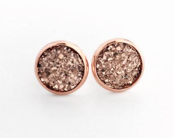 Rose Gold Druzy Studs in Rose Gold Plated Settings