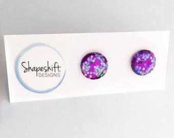 12mm Glass Glitter Stud Earrings - Purple