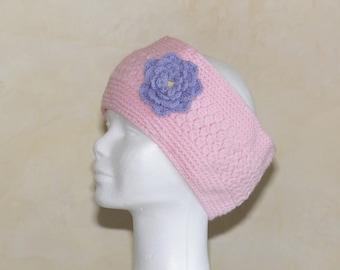 Bandeau-chauffe oreilles rose et fleur lavande