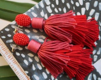 """Red Tiered Ombre Stacked Beaded Tassel Earrings; 3.5""""; Easy on the ears!!"""