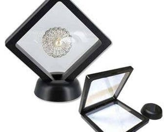 """3D suspension black display jewelry box,  3 1/2"""" x 3 1/2"""" x 3/4"""""""