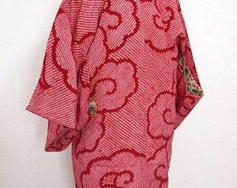 second hand Japanese haori kimono jacket for women, shibori, silk, cloud, antique