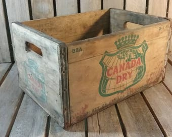 Wooden Soda Crate, Vintage Shipping Crate, Old Wood Crate, Canada Dry Soda Crate, Vintage Wooden Box,  Old Box, Wood Box