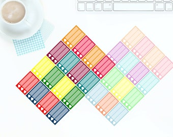 16 Multi-Coloured Bright OR Pastel Heart Half Checkbox Stickers for Erin Condren LifePlanner