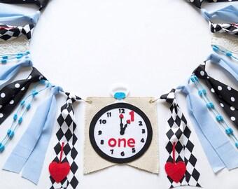 Alice In Wonderland Birthday High Chair Banner - Clock Theme - Party Supplies - Girls 1st Birthday Ideas - Photo Prop Cake Smash
