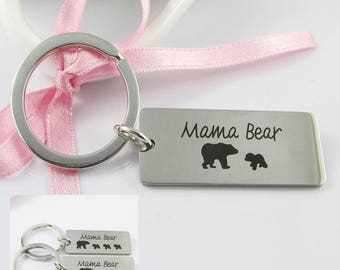 Stainless Steel Mama Bear Charm Keyring Keychain 77mm Select 1, 2 or 3 Cubs