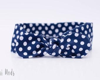 Navy Polka Dot Top Knot Headband / Baby Headband / Knot Baby Headwrap / Navy Blue Headband / Tie knot Turban Headband / Baby Shower Gift