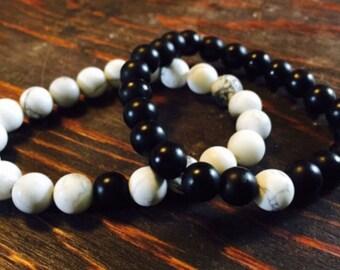 Onyx and White Howlite Friendship Bracelet set