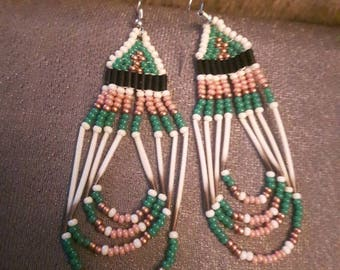 Pink Green Quill Earrings