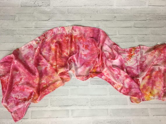 Teacher Appreciation Gift! 100% Silk Oblong Scarf Ice Dyed Abstract Floral Watercolor Silk Scarves Pink Orange Hand Dyed #136
