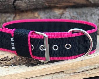 """Dog collar - dog - collar strap - collar Doggy """"Colors - black/Fuchsia"""