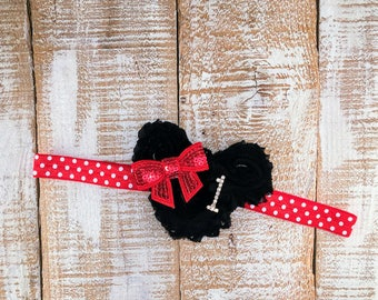 1st Birthday Headband, Minnie Mouse Inspired, Red & Black Headband, Shabby Chic, First Birthday Headband, Photo Prop, Cake Smash