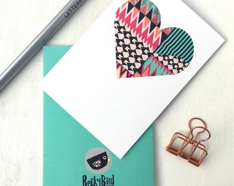 Wedding Card | Engagement Card | Love Heart | Geometric Heart | Heart Print | Heart Card