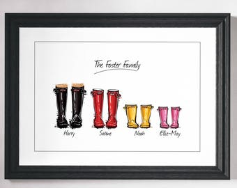 Wellies Print, Wellington Boot, Print, Wall Art Print, Family Gift, Personalised Family Print, Custom Friend Art, Personalised Gift, Art