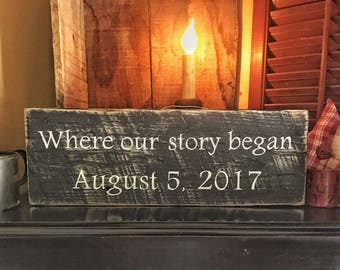 Where our story began, Where our story began wood sign, Wedding gift, New home gift, Bridal shower gift, Newlywed gift