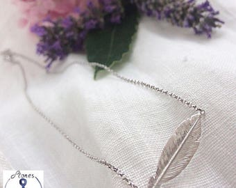 Feather silver necklace 925
