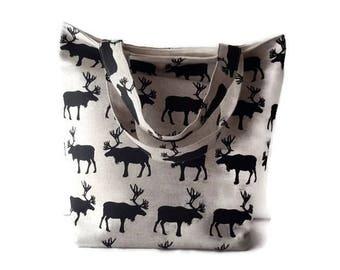 Funky Moose Print – medium Handbag / medium Tote / Ladies Purse / Small Purse / Ladies Tote / Ladies Handbag