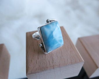 Size 6 Handmade Genuine Dominican Republic Larimar 925 Sterling Silver Ring