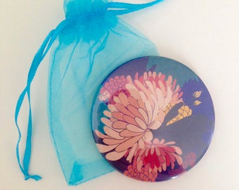 Floral Patterned Pocket Mirrors - Small Memento/Stocking Filler/Bridesmaids gifts - 76mm