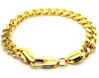 Real 18CT yellow gold plated bracelet, Chunky gold curb link chain, Genuine gold bracelet, Classic gold, Purple gift bag, Black bracelet box