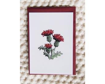 Reproduction postcard - Embroidered card hand - series Herbarium - Thistle - cross stitch - June b Kitsch - JB K