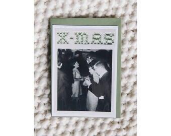 "Postcard - Print photograph vintage embroidered ""X-Mas"" - cross stitch - June b Kitsch - JB K"