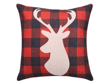 Buffalo plaid throw pillow cover Deer decorative pillow case Red buffalo check cushion  cover Holiday cushion case 18x18 20x20 22x 22 inches