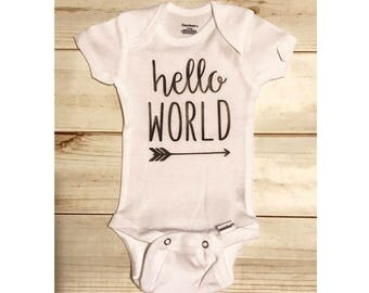 Hello world infant bodysuit / baby going home outfit / newborn baby bodysuit / hello world