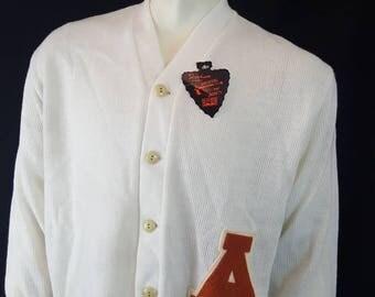 Vintage White SKOOKUM Sportswear Varsity Letterman Cardigan Acrylic Sweater New with Tag Large