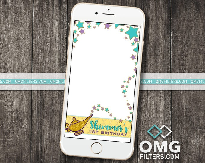 Genie Wishes Snapchat Geofilter - Aladdin, Princess Jasmine, Shimmer, Shine - Any Event! Birthday / Baby Shower