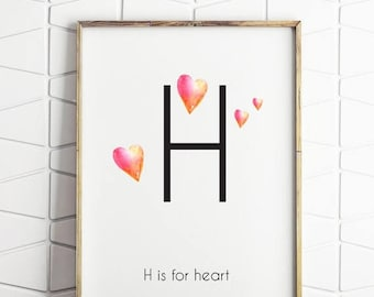 70% OFF SALE heart wall decor, heart printable art, heart decorations, love heart print, printable heart poster decor, mondern heart art