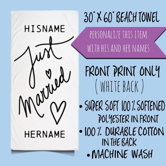 Just Married Personalized Beach Towel, Bride Towel, Honeymoon, Bride To Be, Beach, Wedding Gift, Custom Name Beach Towel, Bride Towels