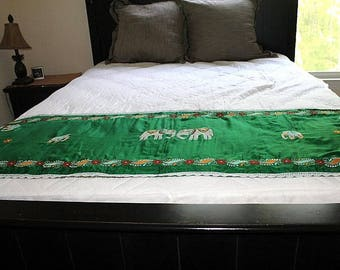 SALE Vintage Hand Embroidered Table Runner, Bed Runner, Green Table Runner,  Holiday Runner