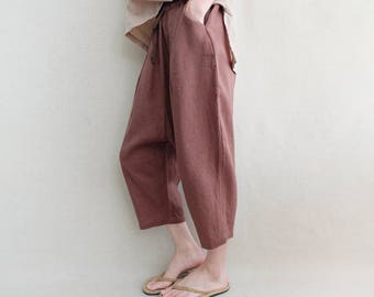 Women Linen Pants Leisure Pants Elastic Waist Cotton Harem Pants Crotch Pants Wide Leg Pants Cropped Pants