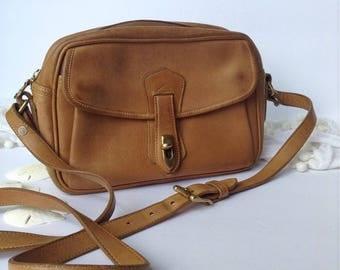 Rare Vintage Dooney and Bourke Genuine British Tan Leather Crossbody / Shoulder Bag / Camera Bag