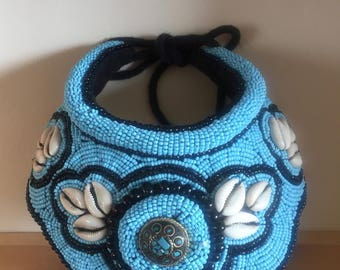 Absolutely Stunning African Tribal Turquoise Beaded and Shell Intricate Neck Collar