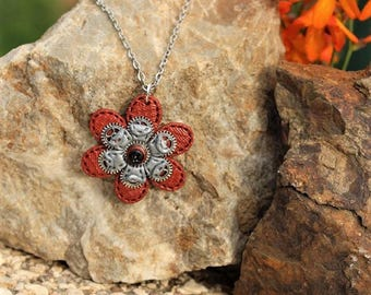 copper and Silver Flower necklace made of polymer clay steampunk