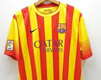 Vintage Nike Barcelona Qatar Airways Football Jersey T-Shirt Sport Wear Top Tee Size XL