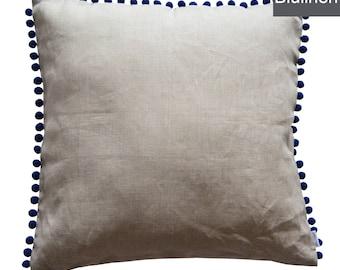 100% Linen Pillowcase PARIS 50 x 50 cm with zipper and pom pom