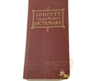 Vintage Abbott's Popular Modern Dictionary, Vintage Pocket Dictionary, Vintage Reference Book, 1940s Dictionary, Vintage School,