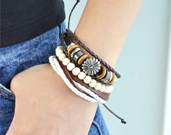 Beads Pu Leather Braided Bracelets