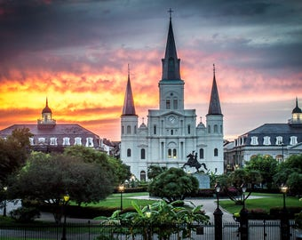 Jackson Square, Sunset, Louisiana, French Quarter, New Orleans, St Louis Cathedral, landscape, church, canvas, Photo Print