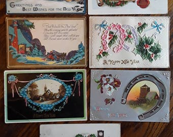 7 Nice Antique New Years Greetings Postcards Embossed Victorian Vintage Ephemera Lot