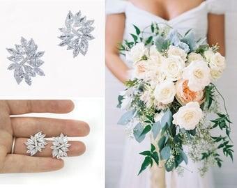 Bridal earrings, Marquise earrings, bridal earrings rhinestones