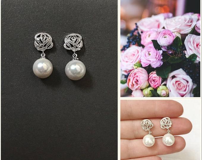 Pearl Bridal earrings, pearl earrings fromal earrings bridal earrings rhinestones, pageant earrings