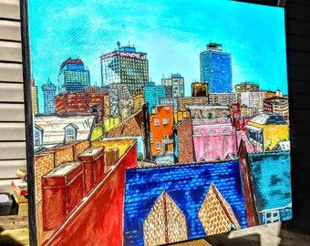 """A 20""""×16""""× 2"""" deep acrylic painting of city skyline"""