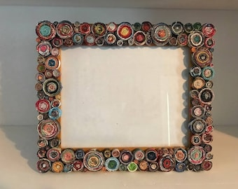 8x10 picture frame embellished with upcycled magazine pages