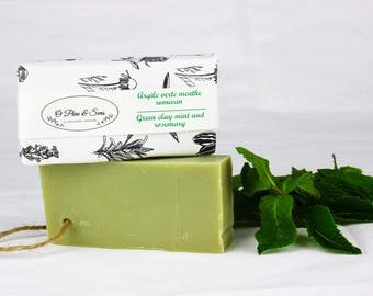 Rosemary Mint Green Clay SOAP. For normal, combination or oily skin. Handmade vegan SOAP purifying. Spa 100% natural SOAP